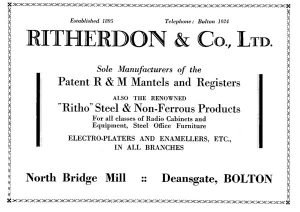 1929 Ritherdon & Co Ltd. Advert