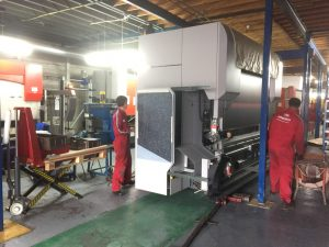 Moving the new press brake into place