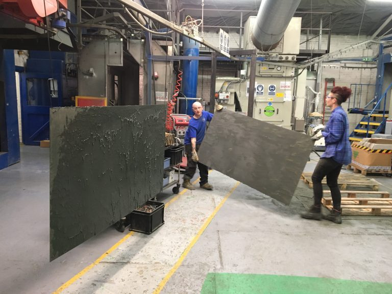 Nicola Ellis' Dead Powder panels in creation.