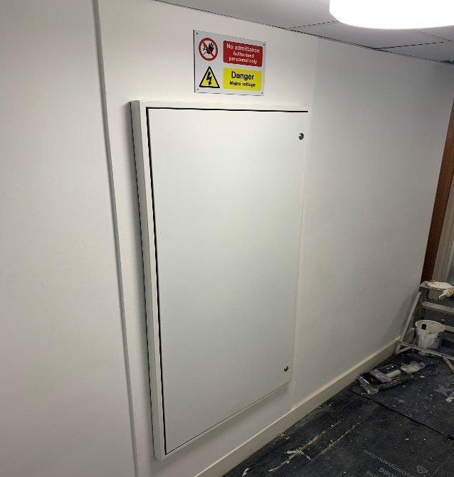 Fire protected riser cupboard, complete with FireSeal for easy access to services